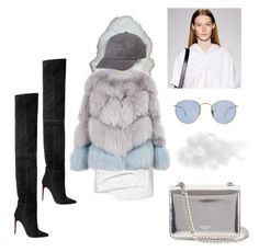 """""""Seven Rings"""" by astrro on Polyvore featuring Yves Salomon, Jacquemus, Milusha, Balmain, Rochas, Ray-Ban, women's clothing, women, female and woman"""