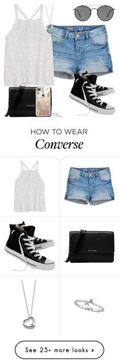 """""""Untitled #472"""" by findthefinerthings on Polyvore featuring Splendid, Converse, Ray-Ban, Michael Kors, Casetify and Elsa Peretti"""