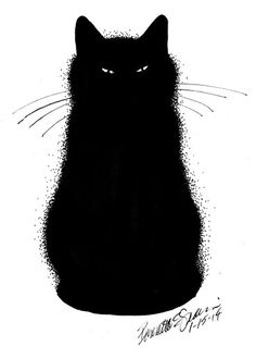 Images For > Black Cat Outline Crazy Cat Lady, Crazy Cats, I Love Cats, Cool Cats, Black Cat Art, Black Cats, Black Cat Drawing, Cats And Kittens, Ragdoll Kittens