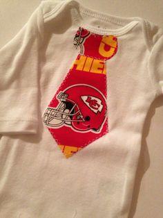 Chiefs Baby Tie Onesie by BrikayDesigns on Etsy, $12.00