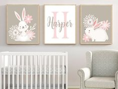 Bunny Nursery Print, Bunny Monogram Nursery Art Prints or Canvas Set of 3 Wall Art, Bunny Rabbit Floral Nursery Decor, Bunny Wall ArtIncludes 3 pieces of wall art with 3 available product options.PRODUCT OPTIONS➡️ Photo Prints - Unframed➡️ Gallery Wrap Canvas➡️ Emailed Digital Files - No physical product will be shipped. You print.➡️ PHOTO PRINT OPTIONPrinted borderless on a professional lustre photo paper with a fine grain pebble texture.Features a rich, sharp color that won't fade or yellow an Nursery Room Decor, Nursery Prints, Nursery Wall Art, Nursery Monogram, Floral Nursery, Bunny Nursery, Girl Nursery, Kitchen Art Prints, Thing 1