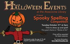 Attend the 5th Annual Spooky Spelling Competition at #LSCAtascocitaCenter Library on October 31, at 3pm!