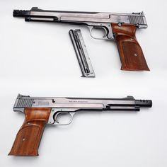 """Smith & Wesson Model 41 - Even with .22 ammunition getting easier to find, one still needs to locate a good target pistol for competitive shooting practice.  Our GOTD, Smith & Wesson's Model 41 in .22, was originally introduced in 1957 with a starting serial number of 1401, and the """"41"""" is still going strong. Our nicely blued example M41 has the 7 3/8 barrel with muzzle brake mounted, but a shorter 5 ½ barrel was also available."""