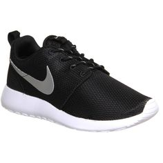 Nike Roshe Run ($110) ❤ liked on Polyvore featuring shoes, sneakers, nike, trainers, black metallic white, unisex sports, sports shoes, black metallic shoes, black sports shoes and unisex shoes
