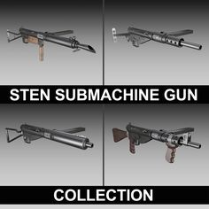 STEN Submachine gun - Collection 3D Model- The collection includes the MK.I, MK.II, MK.III and the MK.V Version of the british 9mm STEN Submachine gun.     This product is a collection of multiple other products found on this side. The included models can also be purchased separately. Click on the member name on the page to see all available models.    Originally modelled in cinema4D. Detailed enough for close-up renders. The zip-file contains bodypaint textures and standard materials…