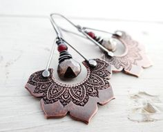 Etched Lotus and Stone Earrings by Lost Sparrow Jewelry