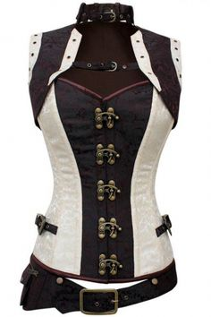 Steampunk Corset Brocade Overbust W Detachable Belt and Jacket