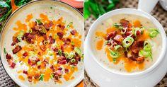 Jemná bramborová polévka se smetanou a kousky slaniny   Čarujeme Cheeseburger Chowder, Pasta Salad, Cooking, Ethnic Recipes, Soups, Food, Crab Pasta Salad, Kitchen, Eten