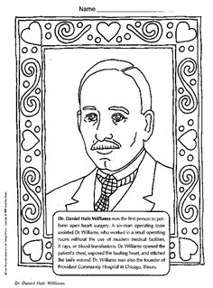 Great Black History Month Coloring Book Page Featuring Dr. Daniel Hale Williams,  An African American Surgeon.