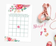 Pink Baby Shower Games Bingo from Casey Joan Design / Etsy Store / Watercolor / Watercolour / Floral