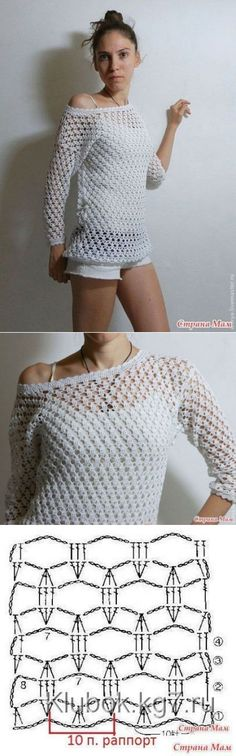 Ideas Crochet Knit Stitch Sweater For 2019 T-shirt Au Crochet, Cardigan Au Crochet, Pull Crochet, Gilet Crochet, Mode Crochet, Crochet Shirt, Crochet Jacket, Crochet Woman, Crochet Stitches