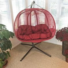 Flowerhouse Pumpkin Double Swing Chair with Stand Color: Red