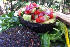 Salsa Avocado with Shroomburger and RAW Bread ...more http://scottmathiasraw.com