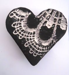 Black lace ceramic brooch with pin