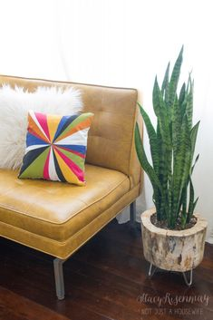 painted pillow with color burst design