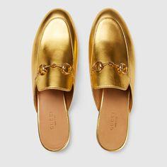 Gucci Princetown metallic leather slipper