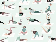 """""""Pilatlinge"""" - I've illustrated those charming people for a Pilates studio (MeinPilates Aachen) based in Germany, Ac."""