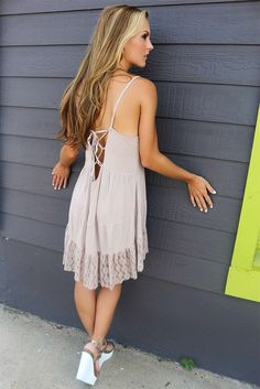 Cafe Coffee Date Mocha Criss Cross Back Lace Tiered Sundress