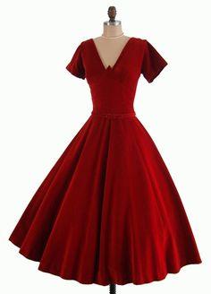 Vintage 1950's 50's Cranberry Red Velvet Bombshell Shelf Bust Cocktail Party Holiday Full Skirt Dress