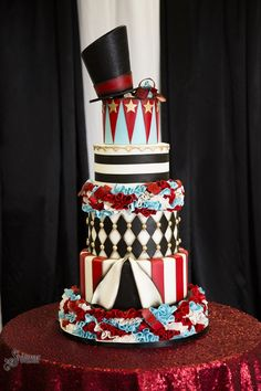 We are so excited to share our circus couture wedding photo shoot we did with the amazing Shalimar Studios today! Carnival Cakes, Circus Cakes, Carnival Themes, Circus Theme, Vintage Circus Party, Carnival Wedding, Vintage Carnival, Beautiful Cakes, Amazing Cakes