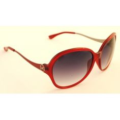 "http://www.imaginesunglasses.co.uk Michael Kors Sunglasses M2453S DRAKE 625 Ladies large oval ""jackie oh"" style frame in red acetate front with red and silver curved metal sides.  Silver MK logo. Dark grey gradient lenses"