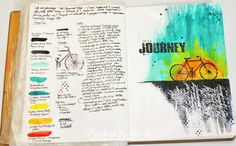 Life Is A Journey - page and notes - for a video tutorial and supply list visit: http://andreawalford.com/art-journal-express-2-video-tutorial-life-is-a-journey-art-journal-page