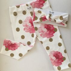 Baby Girl Glitter & Peony Topknot and Legging Set by TopKnotBands