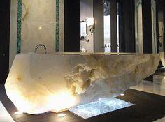 Love the tile design behind beautiful tub I rock-crystal-bathtub-by-baldi Walk In Bathtub, Crystal Decor, Crystal Design, Swarovski Crystal World, Stone Bathtub, Quartz Rock, Crystal Shapes, Bathtub