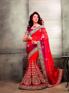 USD 106.61 Red A Line Embroidered Lehenga Saree  33594