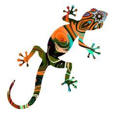 Arabesque, Gecko Tattoo, Color Wheel Art, Longboard Design, Crab Art, Tree Wall Decor, Wood Painting Art, Indigenous Art, Rock Crafts