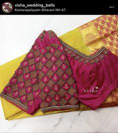 Silk Saree Blouse Designs, Fancy Blouse Designs, Bridal Blouse Designs, Silk Sarees, Aari Embroidery, Embroidery Neck Designs, Embroidery Works, Embroidery Blouses, Maggam Work Designs