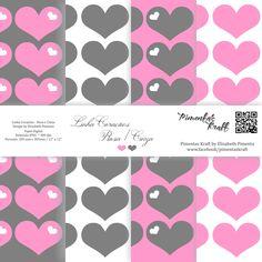 Kit Digital com 4 papéis em alta resolução que fazem parte do kit Corações by Elisabeth Pimenta.