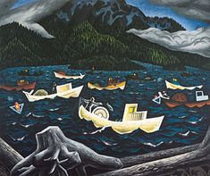 A view from yesteryear and captured by famous painter EJ Hughes - Rivers Inlet BC Canadian Artists, Rivers, Giclee Print, Folk Art, Vancouver Island, Paintings, History, Emily Carr, Landscapes