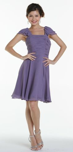 Purple Multi-Chiffon Short Sleeves Cocktail Dress XS to Cocktail Bridesmaid Dresses, Knee Length Bridesmaid Dresses, Modest Wedding Dresses, Homecoming Dresses, Cocktail Dresses, Bridesmaids, Formal Dresses For Women, Short Sleeve Dresses, Dresses For Work
