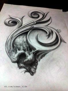 Skull Tattoo Design, Tattoo Design Drawings, Tattoo Designs, Tattoo Writing Fonts, Realistic Eye Tattoo, Scroll Tattoos, Skull Tattoo Flowers, Black And Grey Tattoos Sleeve, Fantasy Tattoos