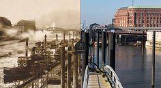 Alsterarkaden, Baumwall, Speicherstadt: Das hat sich zwischen 1888 und 2017 in Hamburgs Straßenbild geändert. Beliebte Orte im Fotovergleich.