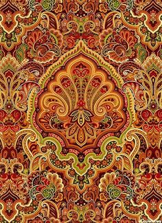 Cotton Quilt Fabric Autumn Festival Large Medallion Yellow Gold Red  1/2 Yard - product image