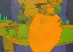 """Lucía Méndez Rivas """"Fiesta de los Misterios"""" 102 cm X 76 cm Oil and charcoal on canvas - sold"""