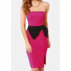 Modern style strapless beam waist bowknot decorated zipper jag women s