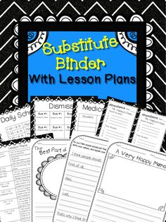 This substitute binder comes with 6 cover choices, forms for daily schedule, attendance, specials, medical needs, dismissal, and more. There are several reading and writing lesson plans with handouts included. EDITABLE!