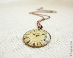 Vintage Clock Necklace by CitrusCat on Etsy, $16.00