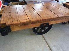 Lineberry-Industrial-Factory-Railroad-Cart-Coffee-Table-Vintage-Antique-Restored