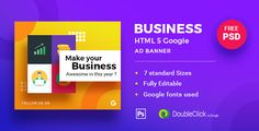 Business  HTML5 Google Banner Ad 19 by 0effortthemes Business  HTML5 Google Banner Ad 19 is a beautiful set of banner templates exclusively made for all type of online shopping. The industry standard and Google recommended banner were made with Google Web Designer tool.These exclus Html Banner, Banner Template, Google Banner, Banner Online, Business Plan Template Free, Web Design Tutorials, Website Template, Ads, Templates