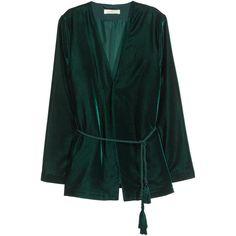 H&M Velvet jacket (296425 PYG) ❤ liked on Polyvore featuring outerwear, jackets, blazer, velvet, dark green, blazer jacket, green velvet blazer, velvet jacket, cord jacket and green velvet jacket