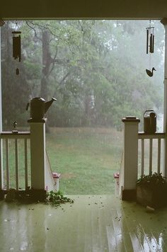 sitting on the porch in the rain