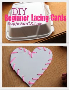 Create a Lacing Card from a take-out container...lacing cards build fine motor skills, visual perceptual skills, bilateral coordination, motor planning...