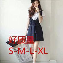 Bộ đầm yếm nữ phối áo thun, thắt nơ xinh xắn, phong cách Hàn Quốc