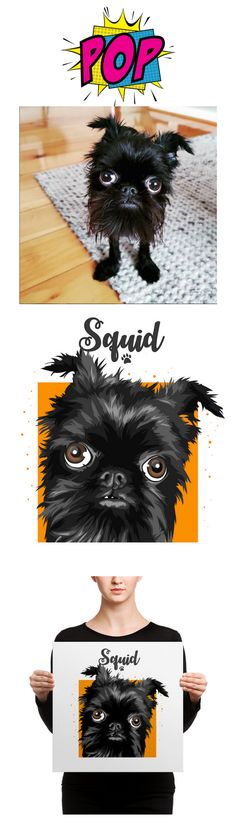 Squid and his portrait from Pop-square #portrait #popsquare #puppy | portrait photography | portrait painting | portraits | vector | dog | pet