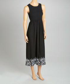 Another great find on #zulily! Black Floral Shirred Sleeveless Dress - Women #zulilyfinds