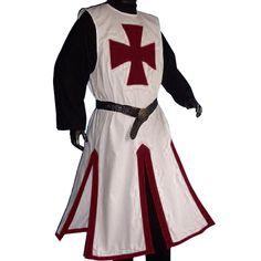 Medieval LARP Knights Templar Cross Surcoat, White/Dark Red - XXL